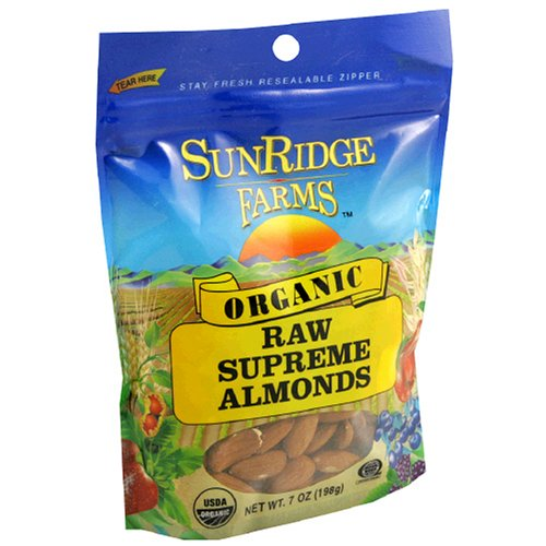 Buy Sunridge Farms Organic Raw Supreme Almonds, 7-Ounce Bags (Pack of 6) (SunRidge Farms, Health & Personal Care, Products, Food & Snacks, Baking Supplies, Nuts & Seeds)