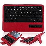 Ipad  Mini 4 ケース キーボード 分離可能 PopSky™【 TELEC認証】【全3色】Ipad  Mini2/Mini3/Mini4ライチ紋専用 Bluetooth3.0搭載 ワイヤレスブルートゥースキーボードケース、キーボード付き 高級PUレザーケース自動スリープ機能付きとスタンド機能付き Bluetooth keyboard case (ipad mini 4, レッド)