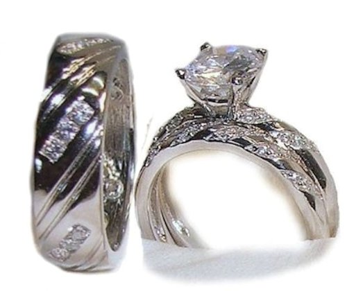 His & Hers 3 Piece Wedding Engagement Ring Set