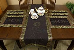 Hand Painted 7-Piece Placemat & Table Runner Set (Coffee Brown)