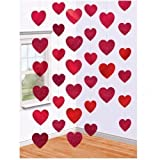 Valentines Day Red Hearts Hanging String Decorations x 6