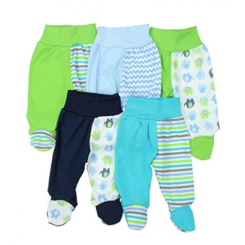 TupTam Baby Hose mit Fuß Jungen Strampelhose Babyhose Strampler Mädchen Stramplerhose im 5er Pack, Farbe: Junge, Größe: 68