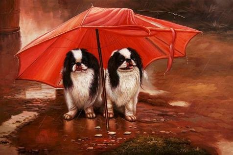 Oil Painting 'Two Dogs Under A Red Umbrella', 24 x 36 inch / 61 x 92 cm , on High Definition HD canvas prints is for Gifts And Bath Room, Nursery And Powder Room Decoration, rolled (Valley Fifth Wheel Rails compare prices)