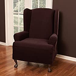 Maytex Pixel Stretch 1-Piece Slipcover Wing Chair, Wine