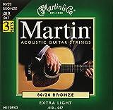 Martin マーチン アコースティックギター弦 3セットパック 80/20 Bronze M-170PK3 .010-.047 エクストラライト 【国内正規品】