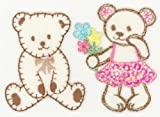 Boy and Girl Teddy Bear Motifs with sequins Ironsewglue on embroidery patches x 2 assorted