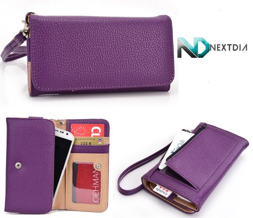 Doogee Dagger Dg550 Wallet Wristlet Case || Purple With Credit Card Holder