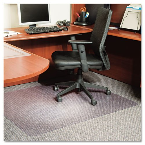 "ES Robbins Products - ES Robbins - AnchorBar Multi-Task Intermediate Chair Mat for Carpet, 46w x 60l, Clear - Sold As 1 Each - For use with loop/berber style carpet up to 3/8"" thick including the padding. - Protect your carpet and stay on task with an ultra clear mat that allows you to roll freely within your workspace. - AnchorBar cleat system holds as securely as traditional cleats, yet is gentle on the carpet and fingers. - Crystal Edge creates a smooth finished edge of superb clarity wh"