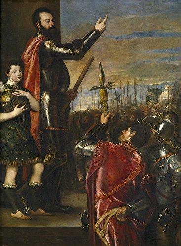Oil Painting 'Titian [Vecellio Di Gregorio Tiziano] The Marquis Of Vasto Addressing...