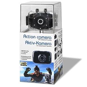 Action Kamera mit wasserdichtem Gehäuse, schwarz, Video HD 720p mit Befestigungs-Set