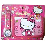 Hello Kitty Watch & Wallet Combo Girls Birthday Present Gift (Designs May Vary)