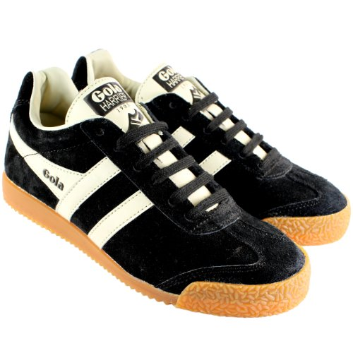Womens Gola Harrier Low Top Suede Running White Striped Trainers - Black - 10