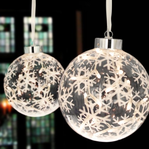 Large Glass Christmas Bauble With 20 Lights