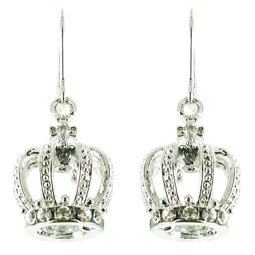 Clear Crystal On Silver Plated Crown Earrings front-1048400