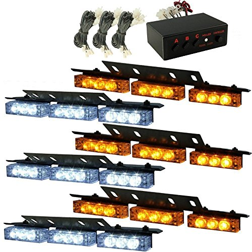 XKTTSUEERCRR 54 LED Emergency Vehicle Strobe Lights Bars Warning Deck Dash Grille Amber/White (Amber Led Warning Lights compare prices)