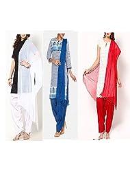 Ashmita Cotton Set Of Patiyall & Dupattas -Black ,white ,red-FS