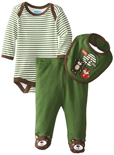 Bon Bebe Baby-Boys Newborn Best Pals Footed Pant Set With Bodysuit And Bib, Multi, 0-3 Months front-1075494