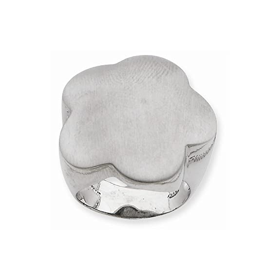 Sterling Silver & Rhodium Flower Ring