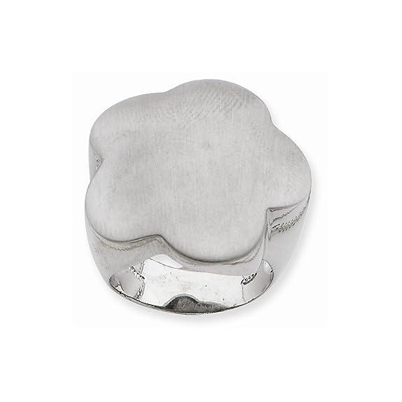 Sterling Silver & Rhodium Flower Ring