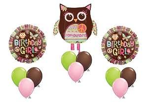 Hippie Chick Peace Happy Birthday Girl Balloon Party Set Mylar Bouquet