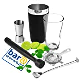 Black Vinylworks Boston Cocktail Shaker Set by bar@drinkstuff Cocktail Making Kit, Cocktail Starter Pack Bar Accessories Set includes Vinyl Coated Boston Cocktail Shaker, Muddler, Mixing Spoon, Cocktail Strainer & Jigger Measure