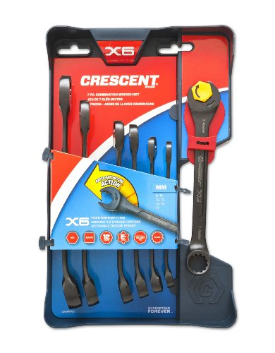Crescent Cx6Rwm7 X6 Mm Combination Wrench Set With Ratcheting Open-End And Static Box-End, 7-Piece
