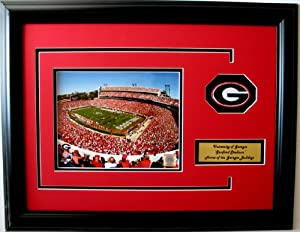 NCAA Georgia Bulldogs Sanford Stadium Framed Landscape Photo with Team Patch and... by CGI Sports Memories