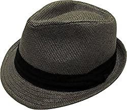 TAUT Unisex Fedora Hat Short Brim Sun Cap with Solid Color Band SM Pure_Grey