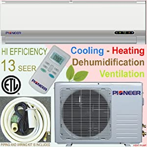 Pioneer Ductless Mini Split Air Conditioner, Heat Pump, 24000 BTU (2 Ton), 13 SEER, Cooling, Heating, Dehumidification, Ventilation. Including 16 Foot Installation Kit.. 208~230 VAC from Pioneer