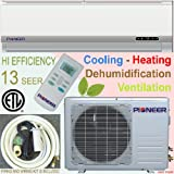 Pioneer Ductless Mini Split Air Conditioner, Heat Pump, 9000 BTU (3/4 Ton), 13 SEER, Cooling, Heating, Dehumidification, Ventilation. Including 16 Foot Installation Kit.. 110~120 VAC.