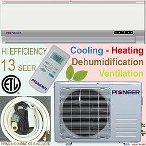Pioneer Ductless Mini Split Air Conditioner, Heat Pump, 18000 BTU (1.5 Ton), 13 SEER, Cooling, Heating, Dehumidification, Ventilation. Including 16 Foot Installation Kit. 208~230 VAC.
