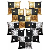 Diamond Cushion Covers Combo Gold & Silver 40 X 40 Cms(10 Pcs Set)