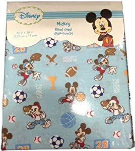 Disney Mickey Mouse Fitted Crib Sheet - Blue Sports