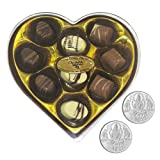 Chocholik Belgium Gifts - Heartfelt Chocolates With Lovely Box With 5gm X 2 Pure Silver Coins - Diwali Gifts