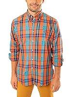 TIME OF BOCHA Camisa Hombre Lino (Naranja / Turquesa)