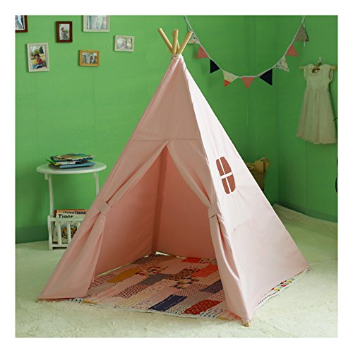 kids-authentic-giant-canvas-indian-teepee-tripod-play-tent-kids-hut-children-house-pink