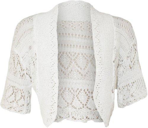 WearAll Women's Crochet Knitted Short Sleeve Bolero - White - US 12-14 (UK 16-18)