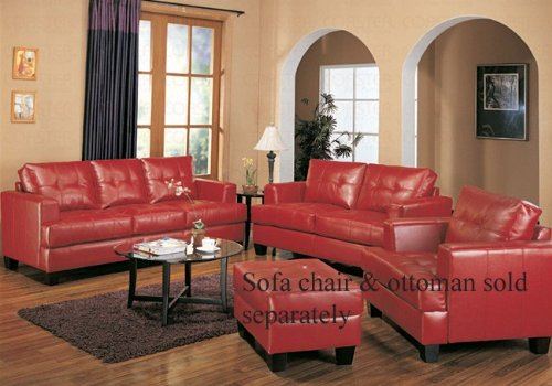 Buy Low Price Coaster 2pc Sofa & Loveseat Set with Wooden Legs Contemporary Red Leather (VF_Livset-501831-501832)