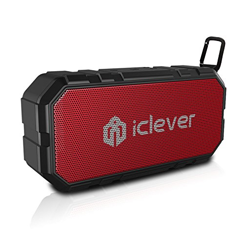 iClever BoostSound Sport Portable Bluetooth Speaker (BTS06), IPX5 Water resistant Wireless Speaker for iPhone, iPad, Nexus, Samsung, HTC, LG and More-Black and Red