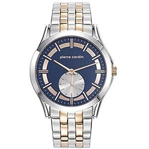 Pierre Cardin Men's 44mm Two Tone Steel Bracelet Steel Case Quartz Blue Dial Analog Watch PC107851F06