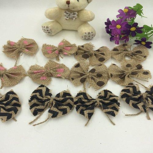 6pcs Bowknot Noeud Papillon en Jute Point Café Décoration de Mariage Vintage Artisanat