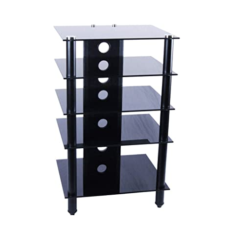 "RTA Home And Office Tier One Designs 25"" Inch And Below Black Glass Tv Stand/Audio Rack"
