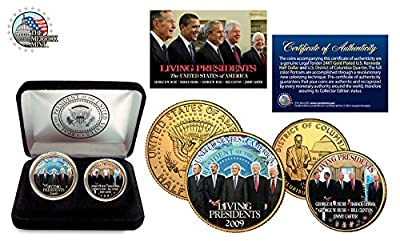 Living Presidents (Obama/Bush/Carter/Clinton) 24KT GOLD JFK 2 COIN SET! W/H CASE!
