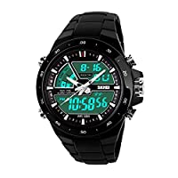 Skmei Chronograph Analogue Digital Sport Black Dial Watch For Men -GM6101BLK