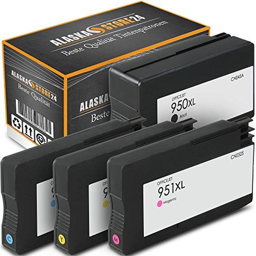 4er Set Druckerpatronen Kompatible für HP 950 XL + HP 951 XL 950XL 951XL (Black , Blau , Magenta , Gelb) mit Chip und Füllstandsanzeige