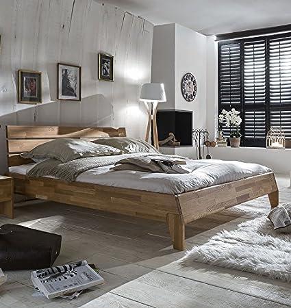 Bett 140 x 200 cm massiv Wildeiche geölt natur
