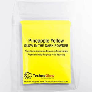 Pineapple Yellow Glow in The Dark Powder - Multipurpose PRO-Series Glow Colors (4 Ounces (113g)) (Color: Pineapple Yellow, Tamaño: 4 Ounces (113g))