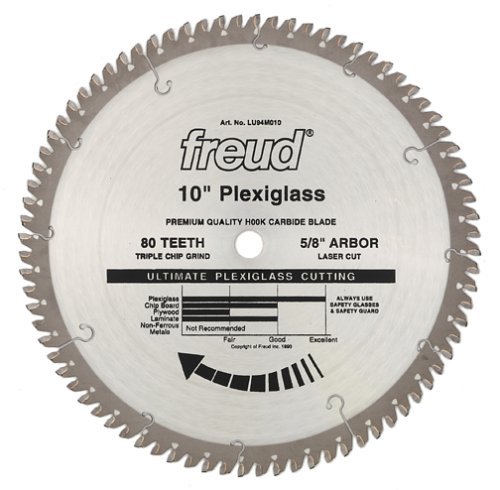 Freud LU94M010 10-Inch 80 Tooth MTCG Plexiglass and Plastic Cutting Saw Blade with 5/8-Inch Arbor
