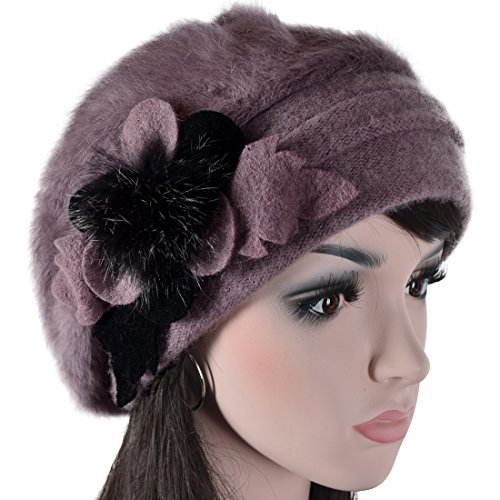 951e18ebdf1 Lady French Beret Wool Beret Chic Beanie Winter Hat Jf-br034 (BR022-Purple
