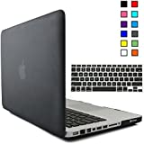 iBenzer - 2 in 1 Multi colors Soft-Touch Plastic Hard Case Cover & Keyboard Cover for Macbook Pro 13'' A1278, Black MMP13BK+1